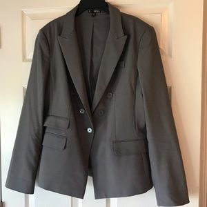 Express Steel Grey Fitted Suit Jacket
